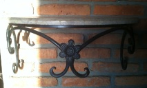 Marble top cast iron shelf for walls